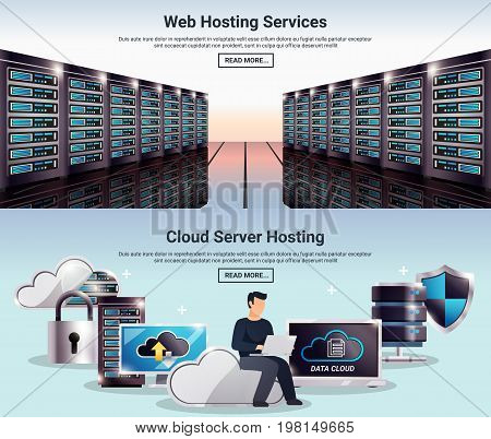 Two colored horizontal datacenter banner set with web hosting services cloud server hosting descriptions vector illustration