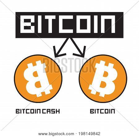New e-currency bitcoin cash. Bitcoin digital currency creative vector banners and design elements. Stylish illustrative money icons. Vector background with the inscription bitcoin.