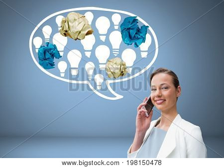 Digital composite of Man standing next to light bulbs chat bubble with crumpled paper balls