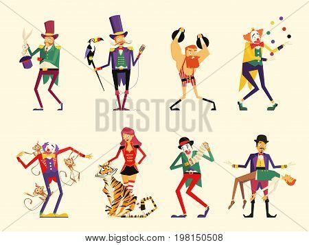 flat cartoon circus characters. circus performers set