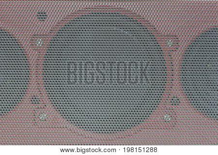 Close Up Details Of Loudspeaker Woofer Driver