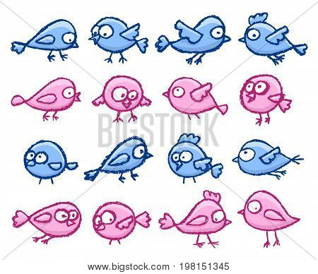 Set of cute little hand drawn blue and pink birds. Cartoon vector bright funny birds isolated over white background.