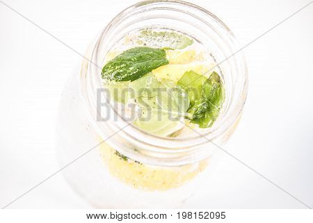 A Lemonade with mint, ginger, and pepper
