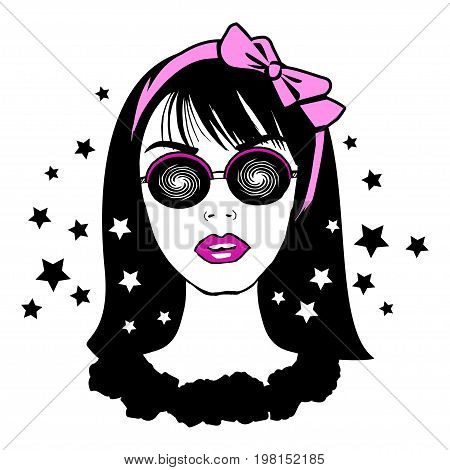 Young pretty teenager girl in hypnotic glasses with pink bow on head. Portrait of fashion young brunette. Stylish hipster teen. Vector illustration
