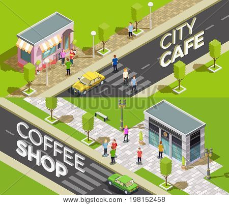 Set of two horizontal cafe isometric banners with urban scenery and small coffee shops with 3d text vector illustration