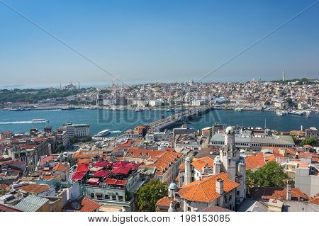 ISTANBUL TURKEY - JUNE 25 2015: Panoramic view of Istanbul from Galata tower Turkey