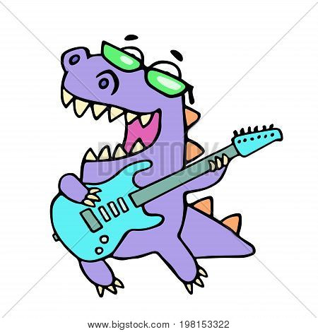 Happy dragon playing the electric guitar in black glasses. Vector illustration. Rock star guitarist. Cute cartoon character.
