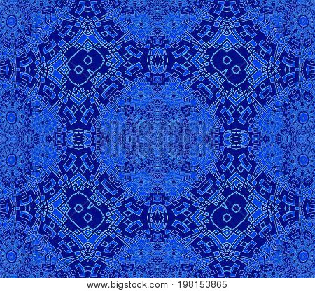 Abstract geometric seamless background. Regular intricate ornaments azure blue and dark blue, ornate and extensive.