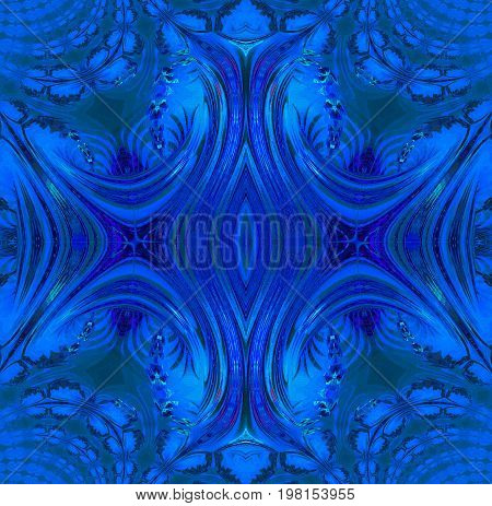 Abstract geometric background. Regular symmetric ornament in dark blue and gray shades, ornate and dreamy.