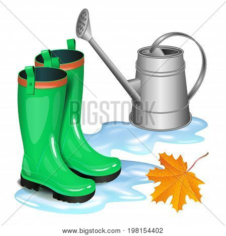 Green gumboots in puddle gray watering can and falling orange maple leaf. Autumn gardening season illustration. Rainy day. Realistic vector