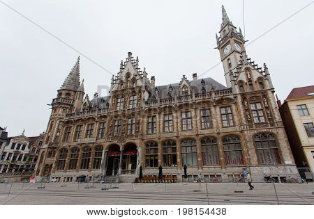 Ghent Belgium - June 26 2011: The old post building office in Ghent