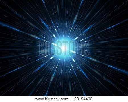 Blue glowing explosion in space supernova or starburst computer generated abstract background 3D rendering