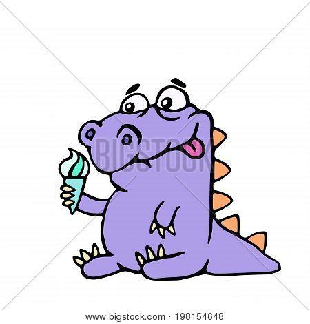 Cartoon croc wants ice cream. Vector illustration. Digital drawing cute character.