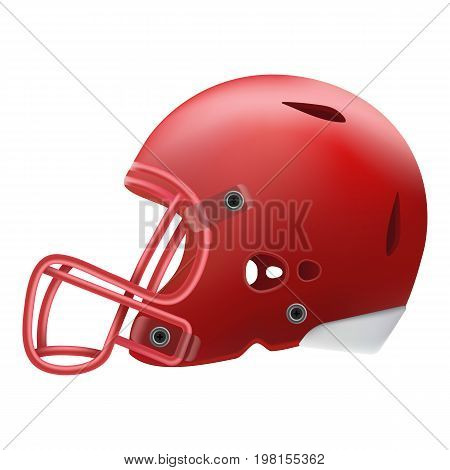 Modern Red American Football Helmet Side View Isolated On A White Background. Vector Illustration. American Football Equipment