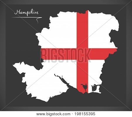 Hampshire Map England Uk With English National Flag Illustration
