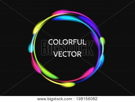 Colorful  neon circle lights effect  on black  background. Shining  magic flash energy beams. Abstract  multicolored  ring or comet trail.  Vector  banner template.
