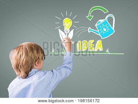 Digital composite of Boy writing in front of grey blank background with idea drawings