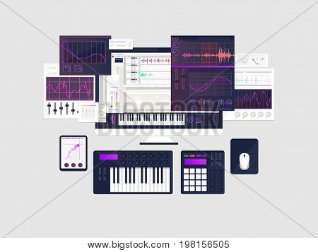 making music workspace concept in flat design. vector illustration