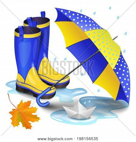 Blue-yellow gumboots children's umbrella falling orange maple leaves and paper boat in puddle. Childhood autumn and rain concept. Realistic vector illustration