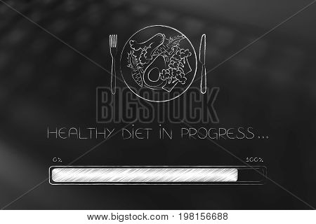 Healthy Recipe Plate With Progress Bar Loading