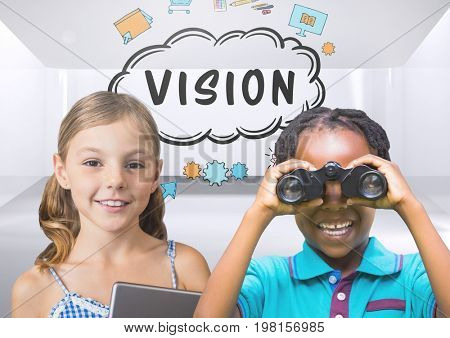 Digital composite of kids with binoculars with blank room background and vision text graphics