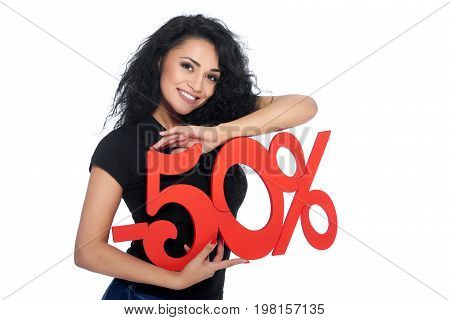 Attractive young brunette woman smiling to the camera posing with -50 sign in her hands isolated on white salesperson shopper buyer consumerism buying sale discount offer price concept.