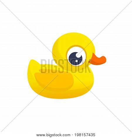 Duck Toy. Minimalistic Flat Color Icon. Pictogram Symbol. Cartoon ducky vector illustration