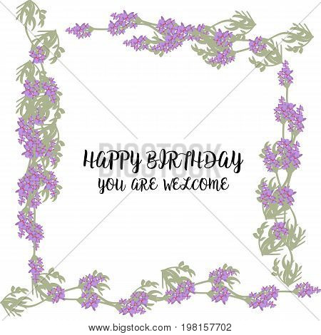 Greeting card with Lavender field and bouquet, violet