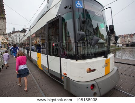 Ghent Belgium - June 26 2011: Tram stop at station in center of Ghent