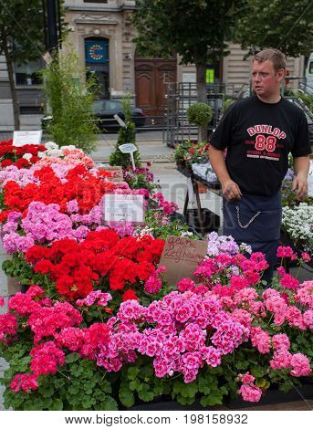 Ghent Belgium - June 26 2011: Flower market Kouter in Ghent