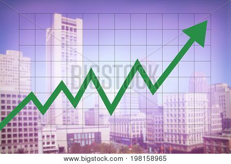 Real estate market economy with increasing graph and green arrow going up with colorful blurred cityscape background