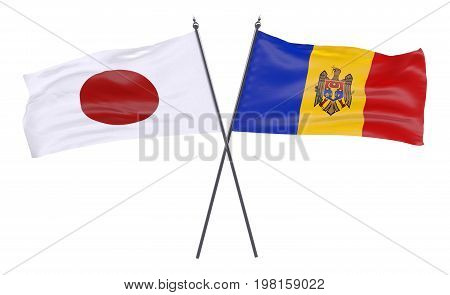 Japan and Moldova, two crossed flags isolated on white background. 3d image