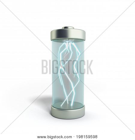 Battery Charging Battery Charge On White 3D Illustration