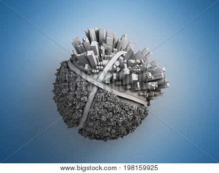 megalopolis aerial view blue 3d render image