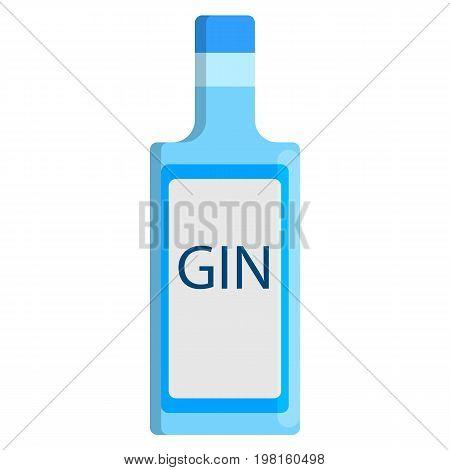 Gin bottle alcoholic beverage flat icon, vector sign, colorful pictogram isolated on white. Symbol, logo illustration. Flat style design