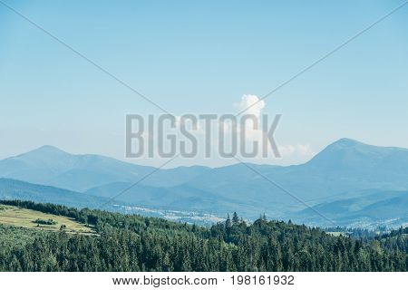 beautiful view on carpathian mountans in summer day