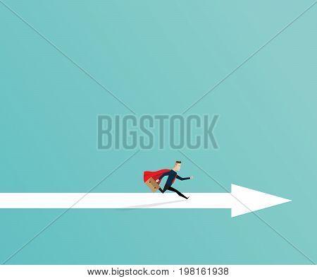 business concept businessman running on arrow way cartoon vector illustration