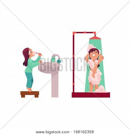 Little girl brushing teeth and taking shower, daily washing routine, cartoon vector illustration isolated on white background. Cartoon little girl brushing teeth and taking shower in bathroom