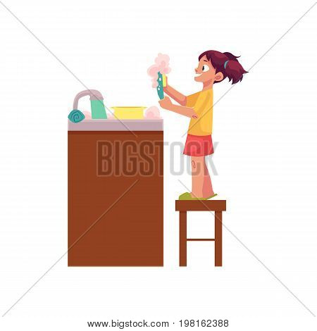Little girl washing dishes, standing on stool at water sink, daily routine, cartoon vector illustration isolated on white background. Cartoon little girl washing dishes, helping mother