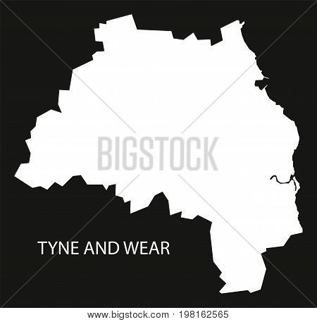 Tyne And Wear England Uk Map Black Inverted Silhouette Illustration
