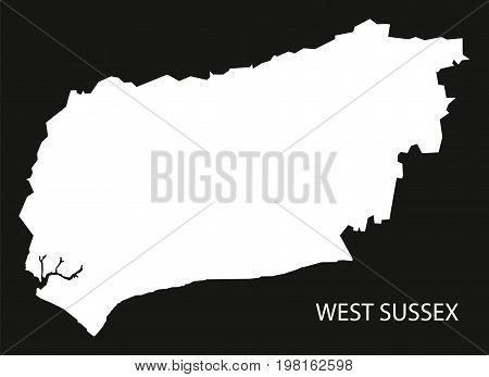 West Sussex England Uk Map Black Inverted Silhouette Illustration