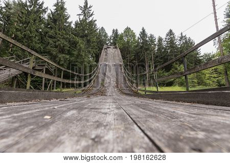 Ski jump in Oybin Germany. First ski jumping hill in Germany. 19th Century wooden jumping bridge in Oybin Germany