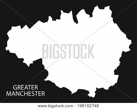 Greater Manchester England Uk Map Black Inverted Silhouette Illustration
