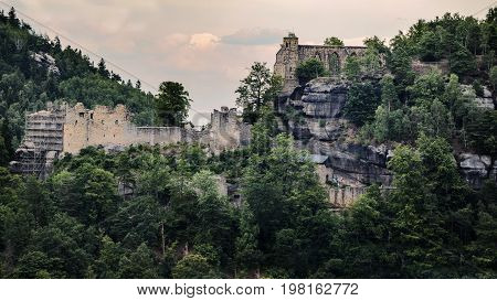 Panoramatic view on the ruins of the monastery and the castle in Oybin Germany