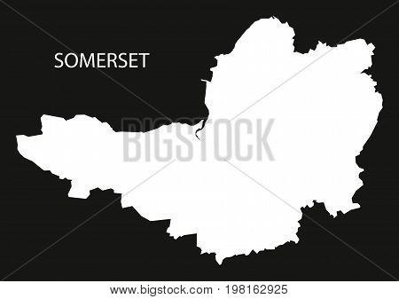Somerset England Uk Map Black Inverted Silhouette Illustration