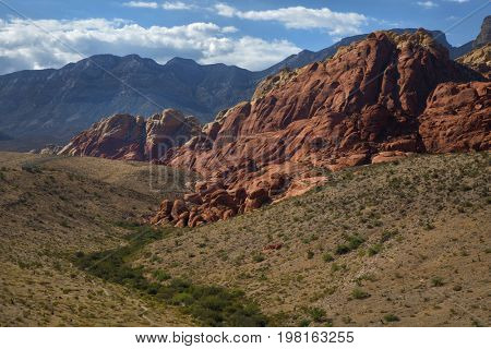 Landscape into the Red Rock Canyon in Nevada, United States