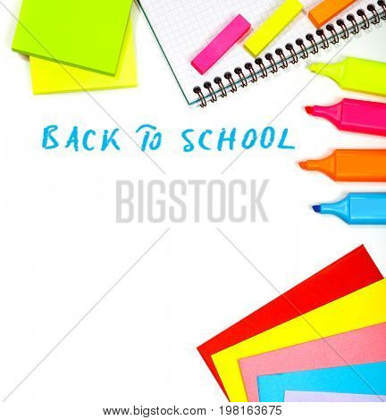 Border of a school stationery isolated on white background with text, different colorful supplies for elementary school, back to school concept