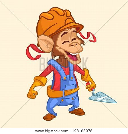 Cartoon construction worker monkey with a trowel. Vector illustration