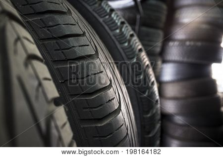 Detail of used or part worn tyres for sell. Closeup
