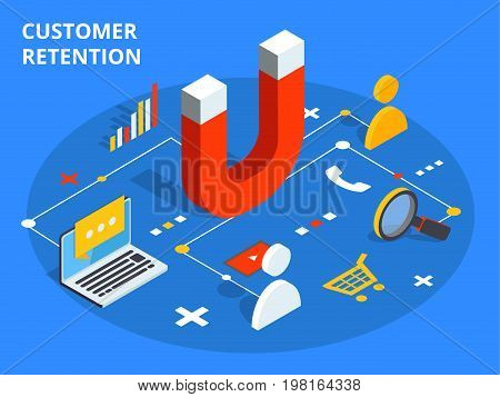 Customer Retention Or Loyalty Isometric Vector Concept Illustration. Client Care Or Satisfaction Met